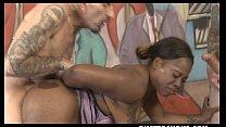 Chubby Black Slut Lessy DeVoe Manhandled By White Dudes