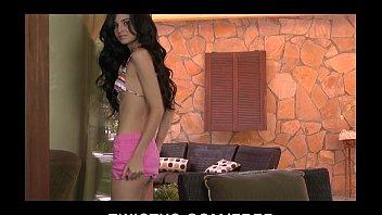 Stunning bikini clad brunette Zoey Kush strips down to masturbate 8 min