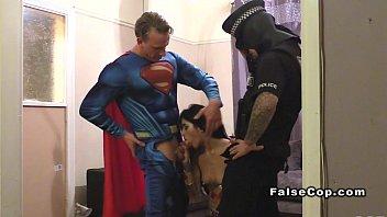 Masked fake cop and superman bang babe
