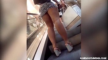 Candid - Thick Longlegged Pawg in Miniskirt & High Heel Sandals