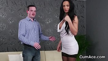 Foxy doll gets cum shot on her face swallowing all the spunk