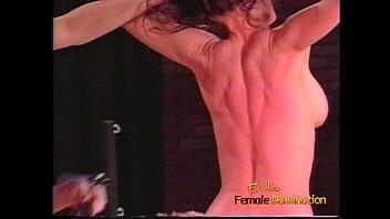 Lovely blonde tart enjoys whipping her busty and horny brunette lover