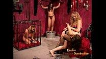 Kinky dominatrix enjoy spanking and whipping a sexy brunette bimbo