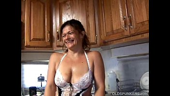 Trashy old spunker in sexy lingerie fucks her juicy pussy for you 10 min