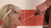 Blonde gets pee for blowjob in the shower 16 min