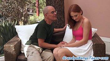 Redhead beauty screwed by grandpa