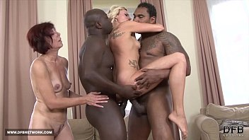 Two mifls fuck two black guys swallow their cum after interracial sex 8 min