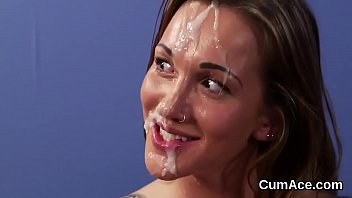 Frisky stunner gets jizz load on her face swallowing all the cum