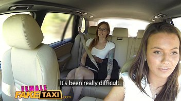 Female Fake Taxi Horny filthy lesbians lick shaved wet pussy in taxi 12 min
