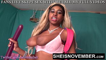 Playful Young Black Student Msnovember, Jumping On Her Bed After Homework With Huge Natural Breasts and Areolas Bouncing and Pulling Panties Down, Wiggling Her Petite Hips on Sheisnovember