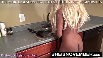 HD Little Youngpussy Blonde Blackgirl Cleaning Dishes Buttnaked While Being Watched, Largenipples and Largeareolas Jiggling Msnovember On Sheisnovember