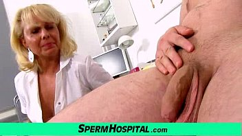 A boy gets handjob healthcare from dirty milf doctor Koko 6 min