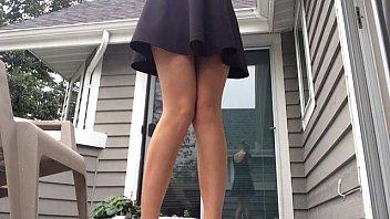 Upskirt milf pees standing on porch 39 sec