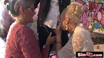 Crazy Italian Talent Show XXX Fucktory - Outrageous Double Granny Blowjob 4 min
