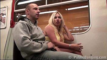 Stella Fox PUBLIC sex gang bang threesome at a subway train 10 min
