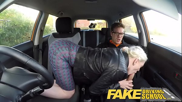 Fake Driving School big tits hairy pussy student has creampie and squirts 13 min