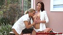 Les cougar masturbating with bigtit babe