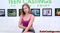 Hardfucked teen gagging at b. casting