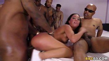 Interracial Gangbang With Anal Slut Amara Romani 8 min