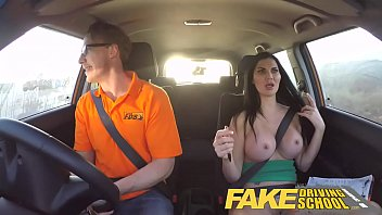 Fake Driving School busty examiner passes excitable young man on his test 10 min