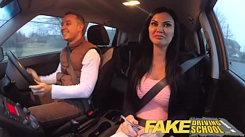 Fake Driving School exam failure ends in threesome double creampie 14 min