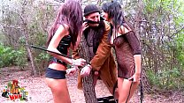 Skinny cuban latina slut hot threesome in the woods