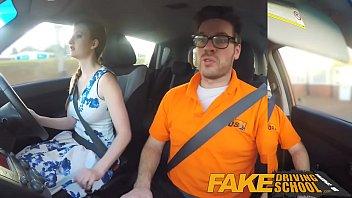 Fake Driving School pink nipples big tits redhead kinky girl gets a facial 10 min