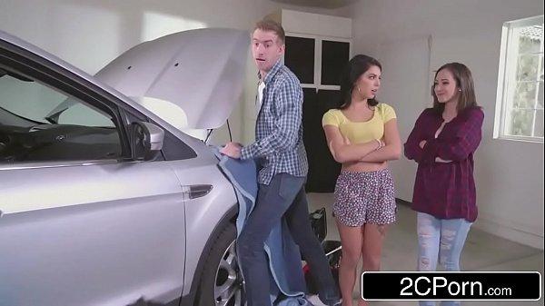 Stepsisters Share Cock Behind Dad's Back - Gina Valentina, Lily Jordan 7 min