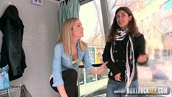 Hot Julia Roco and Sicilia Play with a Realistic Dildo in Public