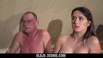 2 Virgins Jump on Grandpa Cock And fucks His Brains Out in Threesome Sex