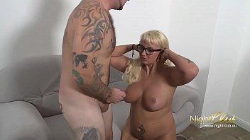 German Tattoo MILF Fucked and cum on glasses