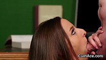 Hot babe gets cumshot on her face gulping all the cum