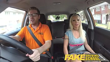 Fake Driving School Barbie earns her pass with a huge facial 10 min