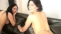 TWO MERRY BRUNETTES ARE TASTING JIZZ IN THREESOME ORGY ON CASTING