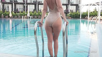 I'm wearing transparent swimsuit in the public pool 81 sec