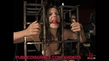 Public Party Plays with Caged Slave 10 min