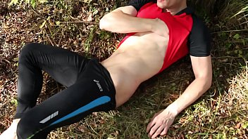 Naked sexy runner masturbates hard causing his thick cock cumming