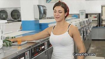 Teen fucks hard on the washing machines