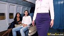 Flight attendant Nikki fucks passenger 5 min