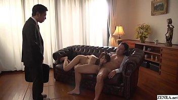 Cuckolding JAV blowjob wife Saki Hatsumi Subtitled 5 min