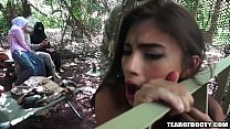 Amazing threesome in jungle camp