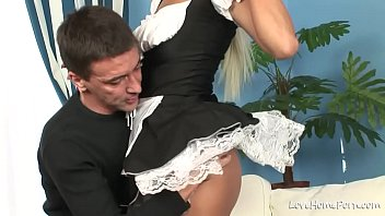 Beauty in black stockings is sucking and riding 20 min