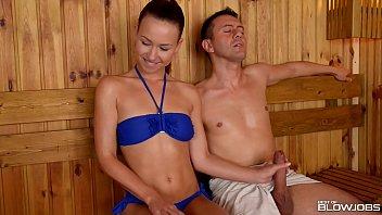 Sauna slut Taylor Sands sucks off 2 strangers cocks