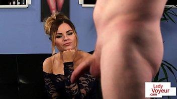 British femdom voyeur instructing sub to jerk