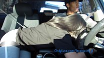 Sucking dick in the car leads to hard fucking creampie 14 min