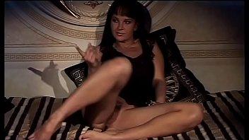 Hot filth brunette provokes two men fingering her wet pussy