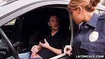 Latina officer caught on a guy jerking off in his car! - Mercedes Carrera 6 min