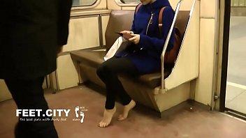 Candid Dirty Bare Feet on Train Part 1- www.prettyfeetvideo.com