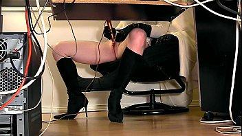 Under desk hidden cam masturbation 5 min