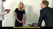 Embarassing nude job interview for shy 19 y.o. blonde babe